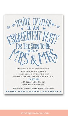 Blue and white engagement party invitations | Same sex wedding invitations | LGBT engagement party invitations