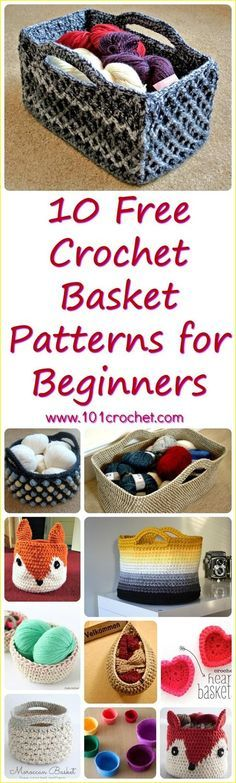 CROCHET 10 Free Crochet Basket Patterns for Beginners; Presenting here these 10 free crochet basket patterns for beginners, referred as cozy storage solutions for your home! The perfect shapes, the soft to touch. Diy Tricot Crochet, Crochet Home, Knit Or Crochet, Learn To Crochet, Crochet Crafts, Crochet Stitches, Crochet Projects, Crotchet, Sewing Projects