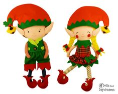 Elf Doll Clothes Sewing Pattern PDF DIY Dress up Christmas Elves Toy Outfits - fits my large dollies