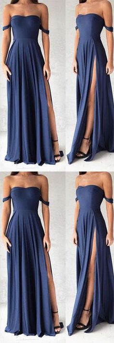 Navy Blue Prom Dresses,Elegant Evening Dresses,Long Formal Gowns,Slit Party Dresses,Chiffon Pageant Formal Dress, G017