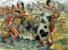 Giuseppe Rava - Achilles battles Hector. Tags: trojan war, achilles, achilleus, hector, hektor,