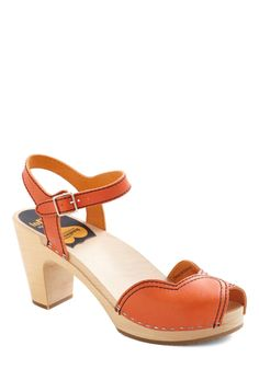 Mary's Savor Every Step Heel by Swedish Hasbeens - Orange, Solid, Mid, Peep Toe, Chunky heel, Leather, International Designer, Casual, 70s
