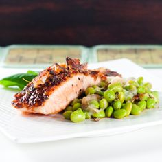 Salmon is glazed in a tasty sauce of basil, honey, soy and ginger.