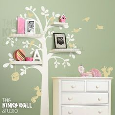 I think this would look awesome with a dark wood stencil and shelves, not neccessarily a childs room.