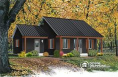 Discover the plan 4478 - Inland Cottage 2 from the Drummond House Plans house collection. Ranch style bungalow, low-building costs, 2 bedrooms, ideal starter home, front covered porch. Total living area of 946 sqft. Drummond House Plans, Small Front Porches, Building Costs, Compact House, Dark House, Cedar Homes, Cabana, Ranch Style Homes, House Paint Exterior