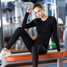 Yel mujeres calientes logotipo personalizado de alta aptitud elástico de compresión camisa de manga larga de la yoga ropa de entrenamiento de gimnasio traje de deporte en ejecución