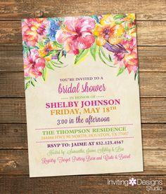 Tropical Bridal Shower Invitation, Destination Wedding, Beach, Pink, Purple, Green, Orange, Flowers, Watercolor, Nautical (PRINTABLE FILE) by InvitingDesignStudio on Etsy