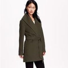 Old Navy Wool Blend Wrap Coat  NWT Dark army green wrap coat. Wool blend with removable belt. Incredibly stylish and brand new! ❄️❄️❄️ Sold out online. Old Navy Jackets & Coats