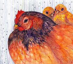Hen and chicks // SALE 1+1 // Buy one get one FREE, Knitted Hen cozy mood watercolor artwork print, 10x8 print (No. 32)