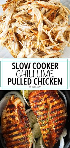 Take your shredded chicken game up a notch with this Chili Lime Pulled Chicken! It's juicy and flavorful, perfect for sandwiches and rice bowls. #crockpotrecipes #slowcookerrecipes #crockpotchicken #pulledchicken #chickenrecipes Hearty Soup Recipes, Crockpot Dessert Recipes, Best Dinner Recipes, Slow Cooker Recipes, Vegetarian Recipes, Cooking Recipes, Slow Cooked Chicken, Pulled Chicken, Chicken And Biscuits