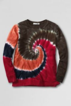 Boys' Long Sleeve Tie Dye T-shirt from Lands' End (In Classic Navy Swirl)