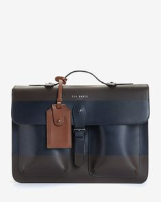Striped leather satchel - Chocolate | Bags | Ted Baker