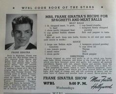 Frank Sinatra's Italian Tomato Sauce and Meatballs Frank Sinatra Dolly SInatra's Recipe for Spaghetti and Meatballs Retro Recipes, Old Recipes, Vintage Recipes, Cooking Recipes, Recipies, Old Italian Recipes, Russian Recipes, Almond Recipes, Popular Recipes