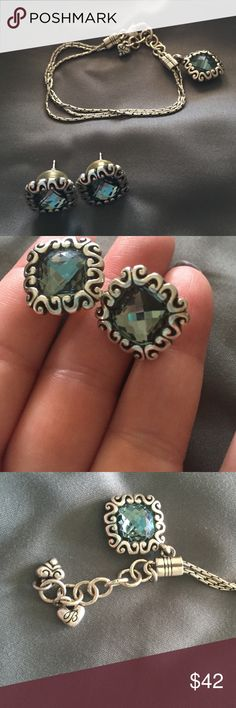 Brighton bracelet and matching earrings. Pretty blueish/green gem color.  I'd wear with blue or black.  Earrings are a pretty good size but not too heavy. Jewelry