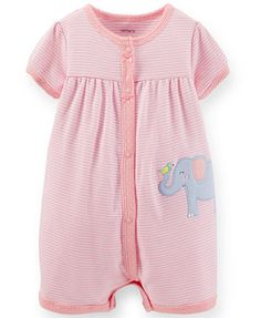 Carter's Baby Girls' Striped Elephant Creeper