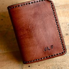 Bi-Fold Mens Wallet. Personalized mens leather wallet with custom initials on Etsy, $74.00