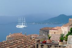 Windstar cruise ship off shore at Monemvasia, Greece