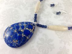 Lapis Lazuli, Magnesite, and Marble Stones with Sterling Silver Necklace and Earring Set -- One of a Kind