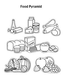 Food Pyramid Coloring Pages : Food Pyramid With Fruit And And