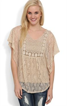 Short Sleeve Lace and Crochet Peasant Top