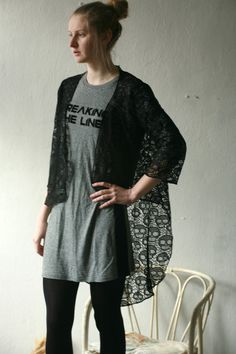 Black scull lace see trough cardigan shawl by DGstyle on Etsy, $40.00