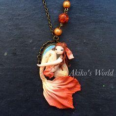 Collier / camé sirène pêche et argent  Bijoux par AkikosWorld