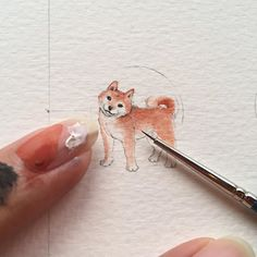 #wip - 柴犬 ・Shiba inu - one of 7 dog paintings I did for this event called Pooch Party. Will be there again tomorrow! See ya . #miniature #painting #arts_help #shibainu #dog #dogsofinstagram #watercolor #winsorandnewton