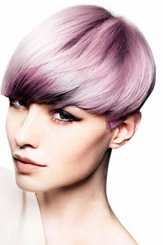 Short straight lilac hair by Mark Leeson. Hair by Mark Leeson Photographs: Andrew O'Toole Styling: Bernard Connolly Make-up: Maddie Austin Products: Goldwell