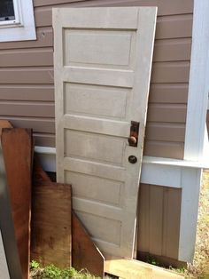 How to Make a Headboard From an Old Door Find a wonderful old panel door--antique store or better yet--someone's garage! Antique Door Headboards, Headboard From Old Door, How To Make Headboard, King Headboard, Diy Headboards, Headboard Ideas, Bedroom Ideas, Farmhouse Headboards, Headboard Door