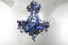 Stunning 'Virtue of Blue' Chandelier Made From 500 Fluttering Solar Butterflies | Dutch artist and designer Jeroen Verhoeven