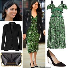 LOVE everything about this look! The green print dress is stunning with the sheer and ruffle detail and the jacket makes it work appropriate