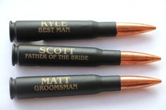 Our personalized .50 caliber bullet bottle openers will please any groomsmen, best man, father of the groom, ushers and more! Each opener can be engraved with a different name or monogram. See more here: https://www.everythingdecorated.com/products/50-cal-bullet-bottle-opener