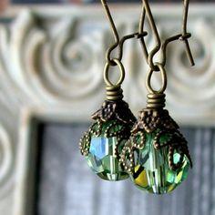 AURORA Dark Romance Green Glass Earrings by voleurdebijoux on Etsy, $18.00