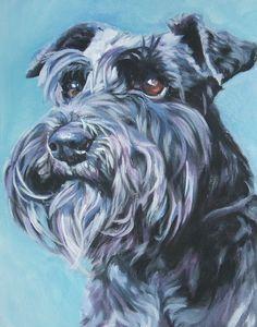 Schnauzer art print CANVAS print of LA Shepard painting 11x14 dog art. $39.99, via Etsy.