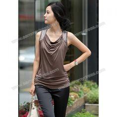 Cowl Neckline Sleeveless Cotton T-Shirt For Women. Website is a scam, but love the shirt.