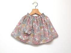 Flowered little girls skirt in Pastel Liberty Tana lawn cotton with ruffled waist on elastic with side pocket // Size US1-6 (EU80-116) by ZanziBach