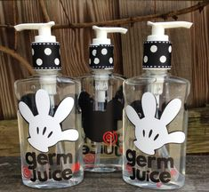 DIY Mickey Mouse soap dispensers, hand sanitizers, etc Mickey Mouse Clubhouse Birthday Party, Mickey Party, Mickey Mouse Birthday, Mickey Mouse Gifts, Mickey Mouse Parties, 2nd Birthday, Disney Theme, Disney Diy, Disney Crafts