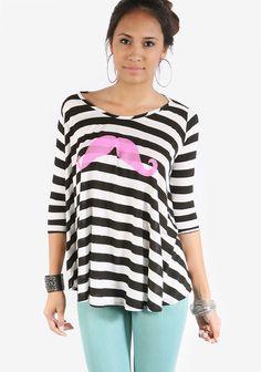 Striped Neon Mustache Top