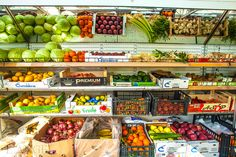 fruit; market; vegetable; store Santorini Greece, Marketing, Fruit, Vegetables, Store, Food, Vegetable Recipes, Storage, Eten