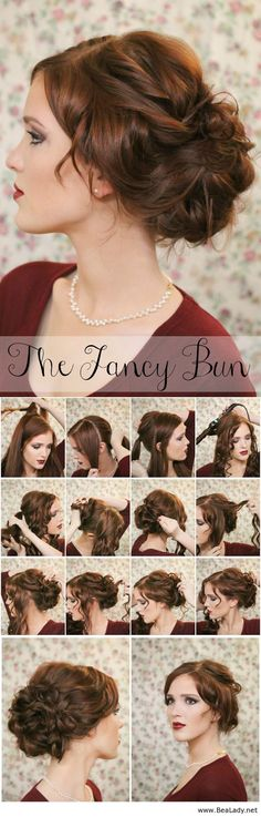Super Easy Knotted Bun Updo and Simple Bun Hairstyle Tutorials - BeaLady.net--this would be pretty for hair :)