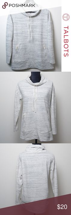Active -T by Talbots Grey Striped Long Sleeve Top Active-T by Talbots grey striped long sleeve top or pullover. PETITE medium. Relaxed neck with drawstrings, two side pockets with zippers. Grey and off white striped pattern.  60% cotton, 32% polyester, 8% modal. Turn inside out, machine wash cold, gentle cycle. Tumble dry low. Talbots Tops Sweatshirts & Hoodies