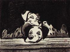 Pongo and Perdita story sketch by Bill Peet. Disney Sketches, Disney Drawings, Arte Disney, Disney Magic, Bill Peet, Animation Storyboard, Storyboard Examples, Storyboard Drawing, Disney Doodles