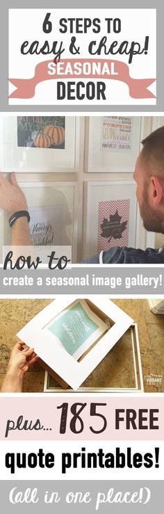 Whether it's fall, Christmas or spring, don't you love decorating your home to match the season? Me too! However I hate spending a lot of money on seasonal decor. I want to show you how to have  nearly FREE seasonal home decor! Let me show you my secret. Plus get links to 185 FREE SEASONAL QUOTE PRINTABLES!