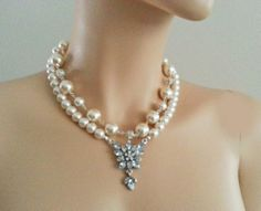 Elegant Ivory Pearl Rhinestone Necklace  by PearlJewelryNecklace, $84.00