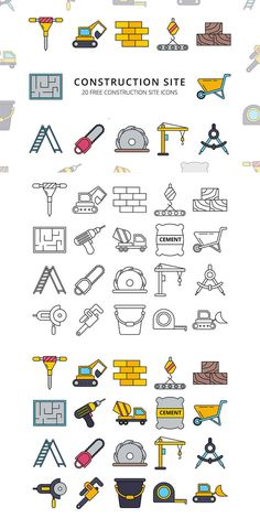 Free Construction Site Vector Icon Set is a high quality collection of 20 unique icons. Each has a colored version and a linear one. These icons are 100% vector. You can easily increase the size without losing quality. You can use these for your upcoming projects like design of sites, applications, promotional printing products, presentations, and many more. You can use these icons for personal and commercial purposes. via @creativetacos