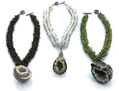 karen gilbert - silver, glass beads, geodes