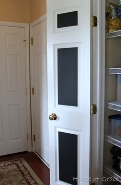 chalk board pantry door to write down groceries as needed! So happy I'll have pantry in the new house! Chalkboard Pantry Doors, Chalkboard Paint, Homemade Chalkboard, Up House, Interior Exterior, Getting Organized, Home Organization, My Dream Home, Decoration