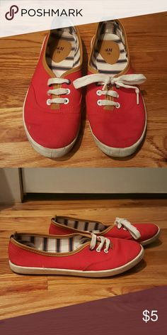 Cute nautical red slip ons Lace up slip ons, super comfy. Great for casual wear. US 7 Eur 38 H&M  Shoes Flats & Loafers