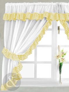 Prestigious Photos for Yellow Kitchen Curtains Curtains Yellow And White, Yellow Kitchen Curtains, Gingham Curtains, Cottage Curtains, Cafe Curtains, Drapes Curtains, Valance, Country Style Curtains, Country Decor