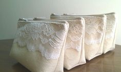 Ivory Lace Bridesmaid Clutch, Rustic Wedding, Linen and Lace Clutches Set of 6 - GET the 7th BAG FREE